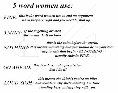 5 words that are used by women