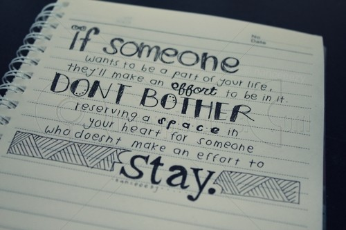 Don't bother reserving a space in your heart for someone