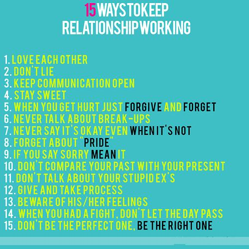 15 Ways To Keep Relationship working