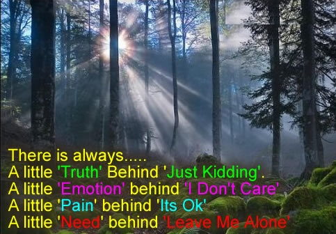 A Little 'Truth' Behind Just Kidding ~ Emotion Quote