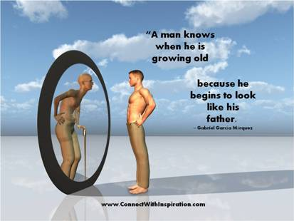 A Man Knows When He Is Growing Old because he begins to look like his father ~ Father Quote