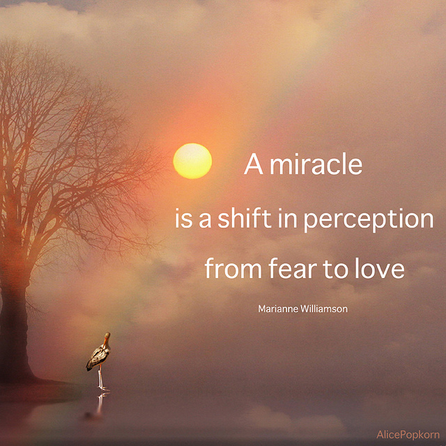 A Miracle Is a Shift In Perception from Fear to Love ~ Fear Quote