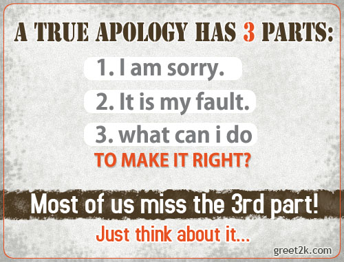 A True Apology Has 3 Parts ~ Forgiveness Quote