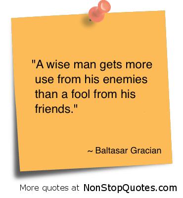 """A Wise man gets more use from his enemies than a fool from his friends"" ~ Enemy Quote"