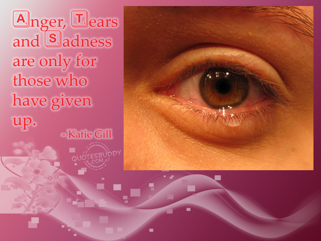 U201d Anger, Tears And Sadness Are Only For Those Who Have Given Up U201d U2013 Katie  Gill ~ Sad Quote   Quotespictures.com