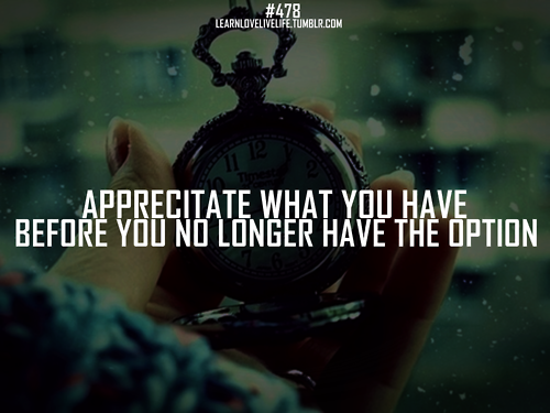 Appreciatate What You Have Before You No Longer Have The Option