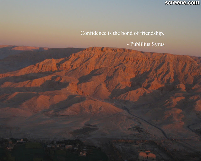 Confidence Is the Bond of Friendship ~ Confidence Quote
