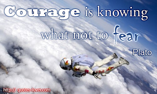 Courage Is Knowing what not to Fear Plato ~ Fear Quote
