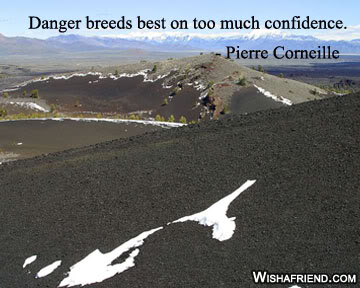 Danger Breeds Best on too Much Confidence ~ Confidence Quote