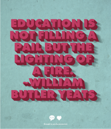 Education Is Not Filling A Pail But The Lighting of A Fire ~ Education Quote