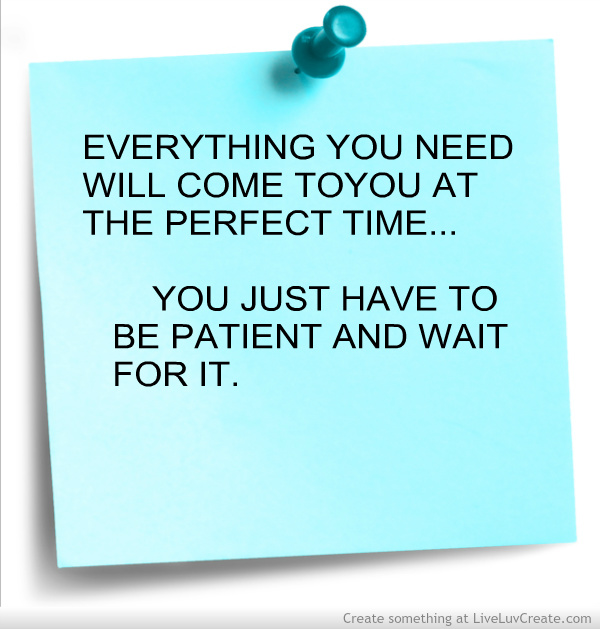 Everything You Need Will come ToYou At The Perfect Time…You Just Have To Be Patient And Wait For It