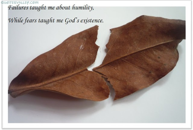 Failure Taught Me Humility, While Fears Taught Me God's Existence ~ Failure Quote