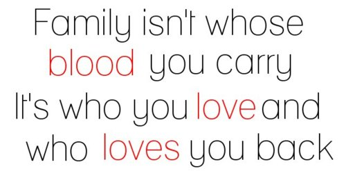 Family Isn't Whose Blood You Carry It's Who You Love And