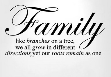 Family like branches on a tree,We all grow In different directions,Yet Our Roots remain as One ~ Family Quote