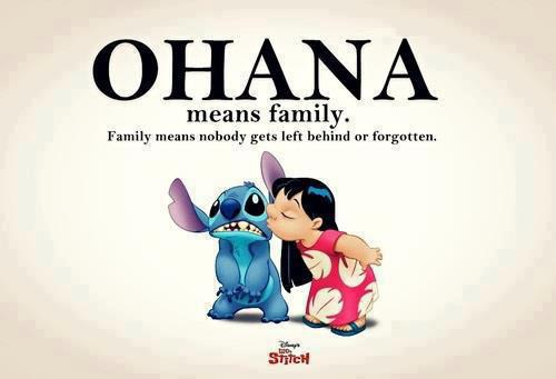 Family Means Nobody gets left behind or Forgotton ~ Family Quote