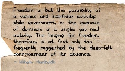 Freedom is but the possibility of a various ~ Freedom Quote