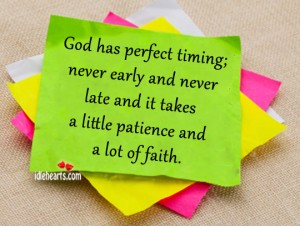 God has perfect timing,never early and never late and it takes a little patience and a lot of faith ~ Faith Quote