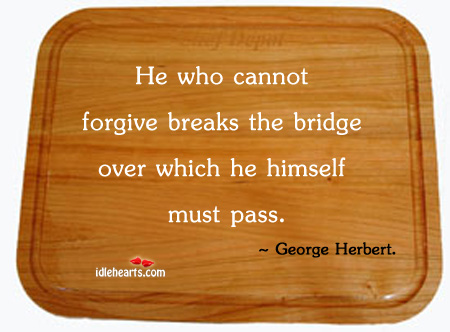 He Who Cannot Forgive Breaks the Bridge Over Which he Himself Must Pass ~ Forgiveness Quote