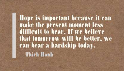 Hope Is Important because It can make the present moment less difficult to bear ~ Faith Quote