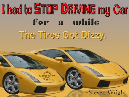 I had to stop driving my car for a while.the tires got dizzy ~ Driving Quotes