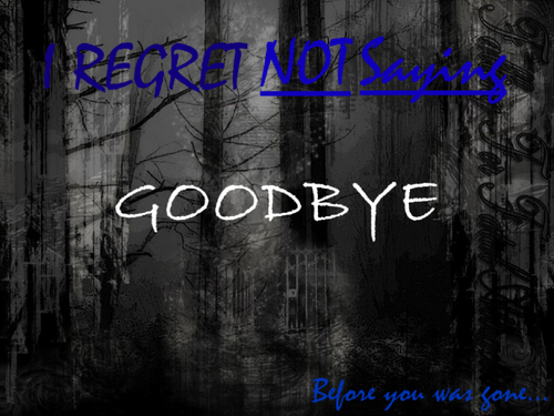 I Regret Not Saying Good Bye ~ Family Quote