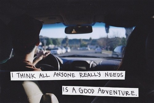 Great I Think All Anyone Really Needs Is A Good Adventure ~ Driving Quote