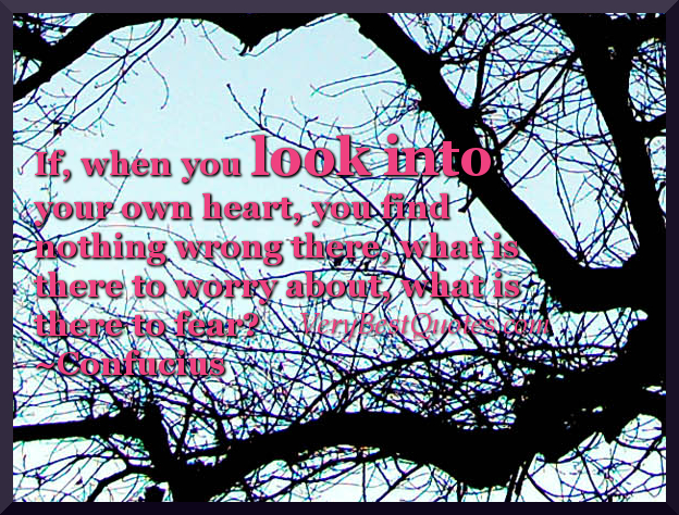 If when you look into your own heart you find nothing wrong there what is there to worry about what is there to fear ~ Fear Quote