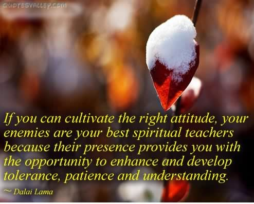 If You Can Cultivate The Right Attitude,Your Enemies are Your Best Spiritual teachers ~ Enemy Quote