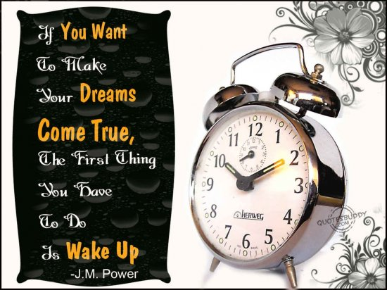 If You Want To Make Your Dreams Come True, The First Thing You Have To Do Is Wake Up ~ Dreaming Quote