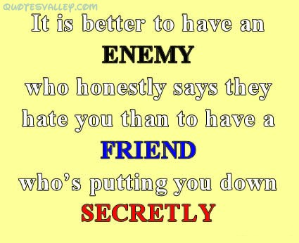 It Is Better To Have An Enemy ~ Enemy Quote