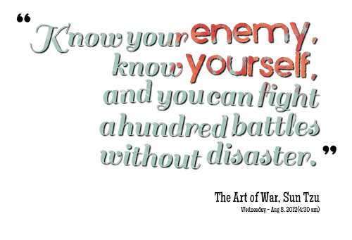 """Know Your Enemy,Know Yourself,and You can fight a hundred battles without disaster"" ~ Enemy Quote"