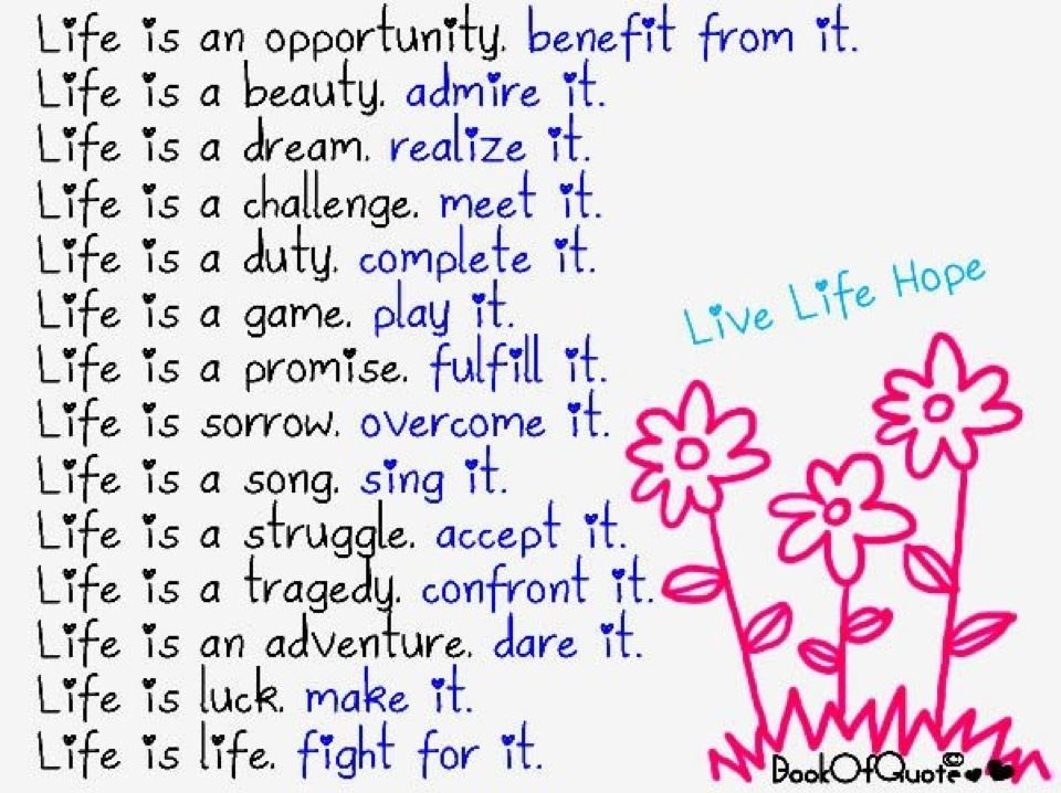 Life Is An Opportunity Benefit From It Beauty Quote