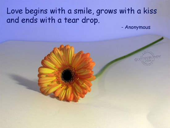 Love Begins with a smile,grows with a kiss and ends with a tear drop ~ Flirt Quote