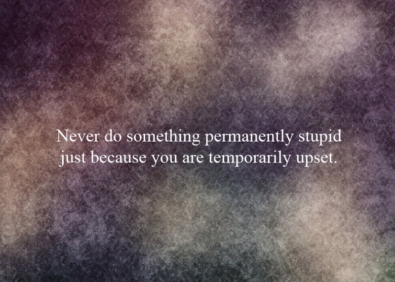 Never Do Something Permanently Stupid Just because You are temporarily Upset ~ Emotion Quote