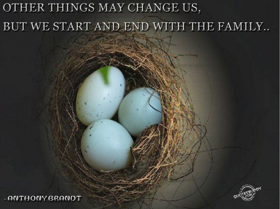 Other things may change us,but we start and end with the family ~ Family Quote