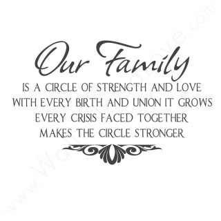 Our Family Is a Circle of Strength and Love With Every Birth And Union
