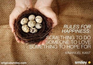 Rules For Happiness,Something To Do Someone to Love Something To Hope For ~ Emotion Quote