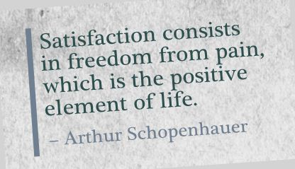 Satisfaction Consists In Freedom from Pain,Which Is the Positive Element of Life ~ Freedom Quote