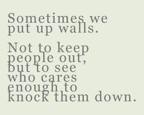Sometimes we Put up Walls.Not to Keep People Out,but to see who cares enough to knock them down ~ Emotion Quote