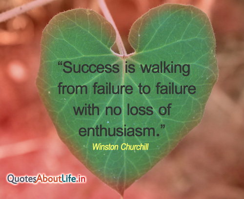 """""""Success is Walking from Failure to failure with No Loss of Enthusiasm"""" ~ Failure Quote"""