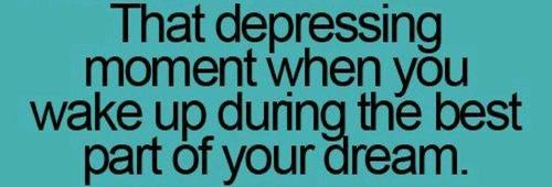 That Depressing Moment When You Wake Up During the Best Part of Your Dream ~ Dreaming Quote