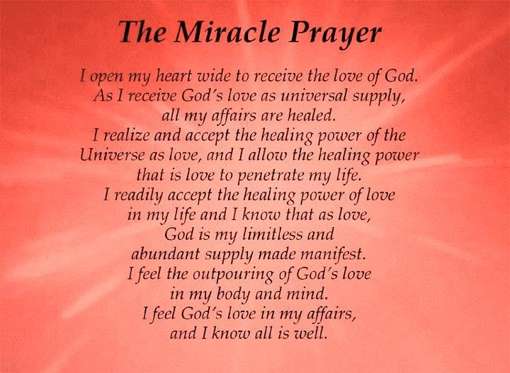the miracle of prayer Miracle prayer is a spiritual self-help book that teaches this extraordinary system this book offers a unique, ecumenical approach to prayer for people of all backgrounds and religious beliefs you can use this process to pray for yourself and others and get the positive results you are seeking this powerful method has its basis in the.