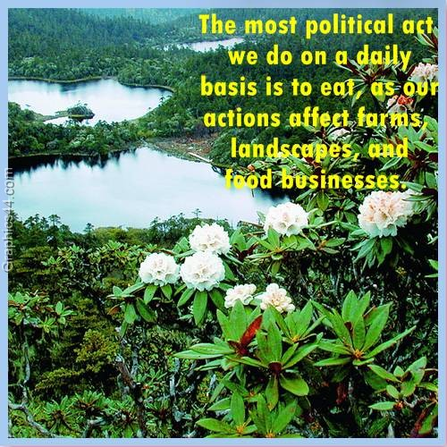 The most political act we do on a daily basis is to eat, as our actions affect farms, landscapes, and food businesses ~ Environment Quote