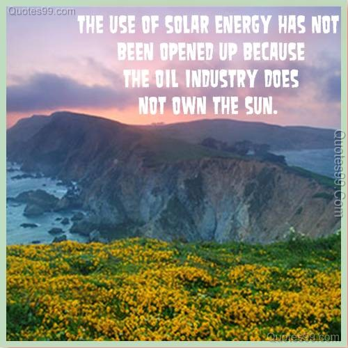 The use of solar energy has not been opened up because the oil industry does not own the sun ~ Environment Quote