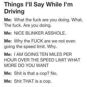 Things I'll Say While I'm Driving ~ Driving Quotes