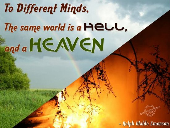 To different minds, the same world is a hell and a heaven ~ Attitude Quote