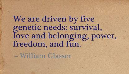We are driven by five genetic needs,Survival,love and belonging,power,freedom and Fun ~ Freedom Quote