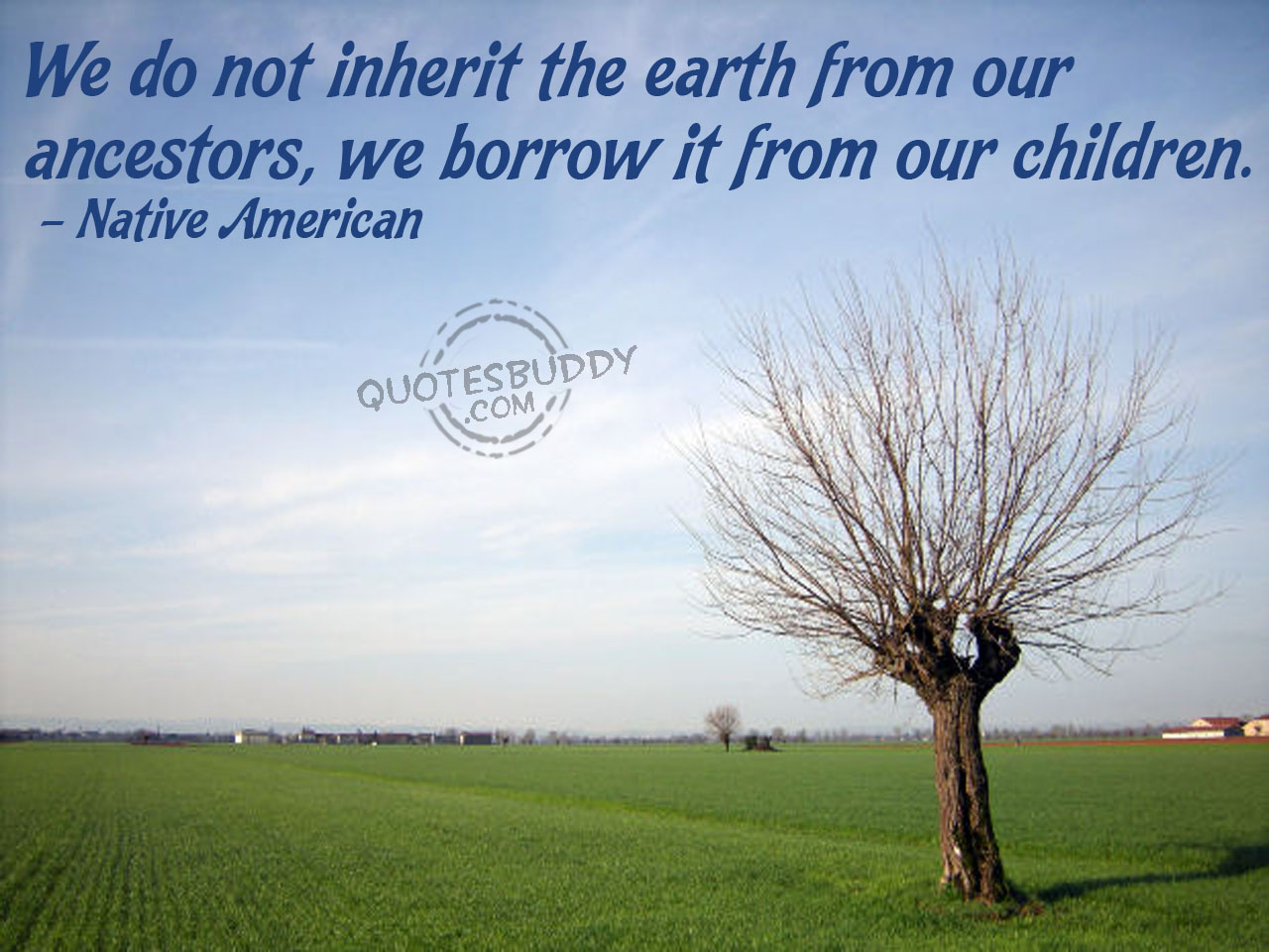 We do not inherit the earth from our ancestors ~ Environment Quote