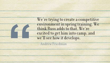 We're trying to create a competitive environment in spring training ~ Environment Quote