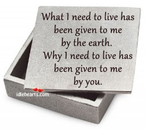 What I Need to live has been given to me by the Earth ~ Earth Quote